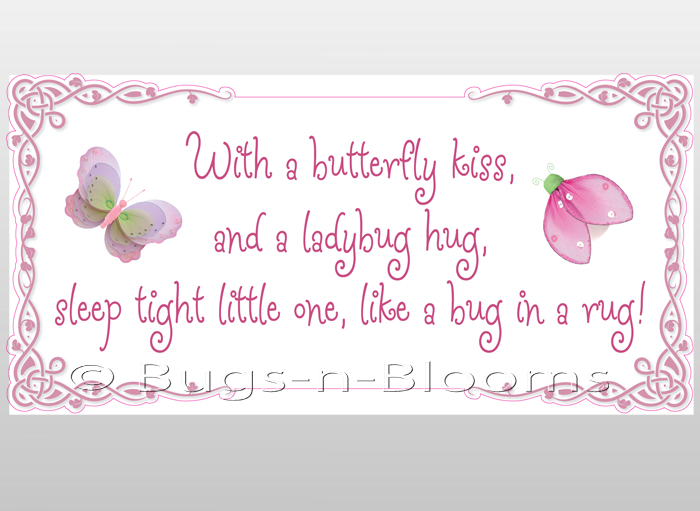 Butterfly Kiss Ladybug Hug Quote Art Wall Stickers Vinyl
