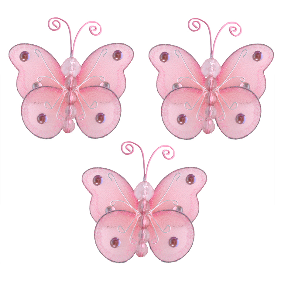 Mini Butterflies Small Pink Wire Hanging Nylon Butterfly
