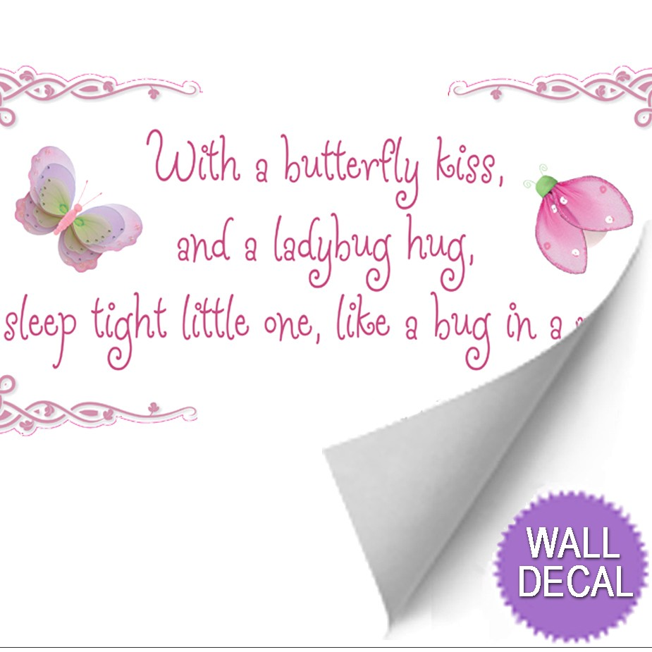 butterfly kiss ladybug hug quote art wall stickers vinyl decal does not apply