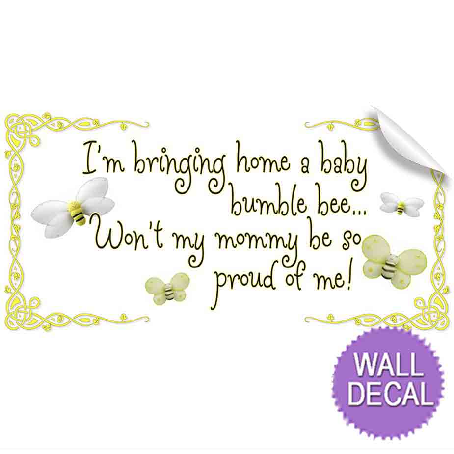 bringing home baby bumblebee quote wall removable vinyl stickers vinyl wall saying quote stickers for kids rooms