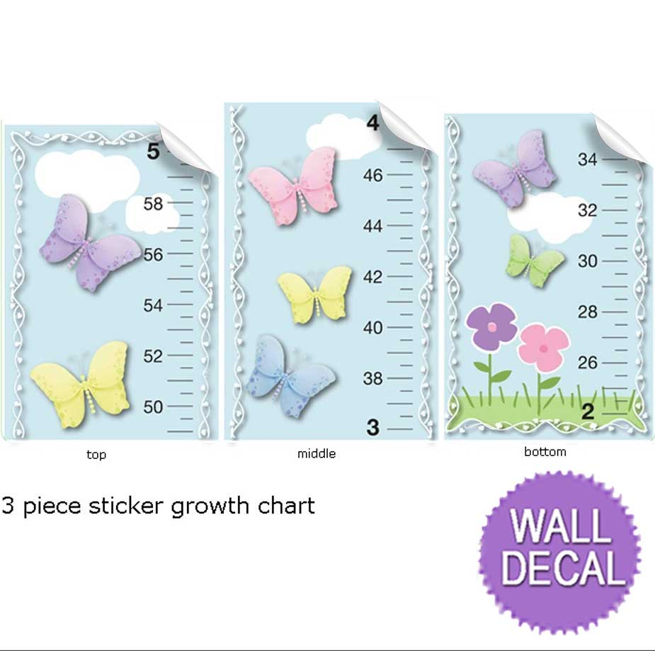 Growth chart butterfly butterflies measure height girls for Nursery charts