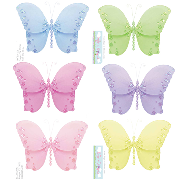 Butterfly wall stickers vinyl mural girl room decor for Butterfly garden mural