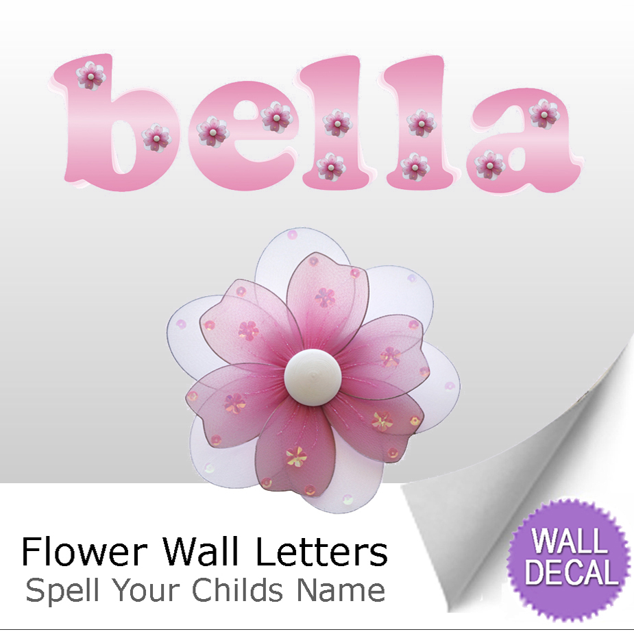 Flower Name Wall Letter Stickers