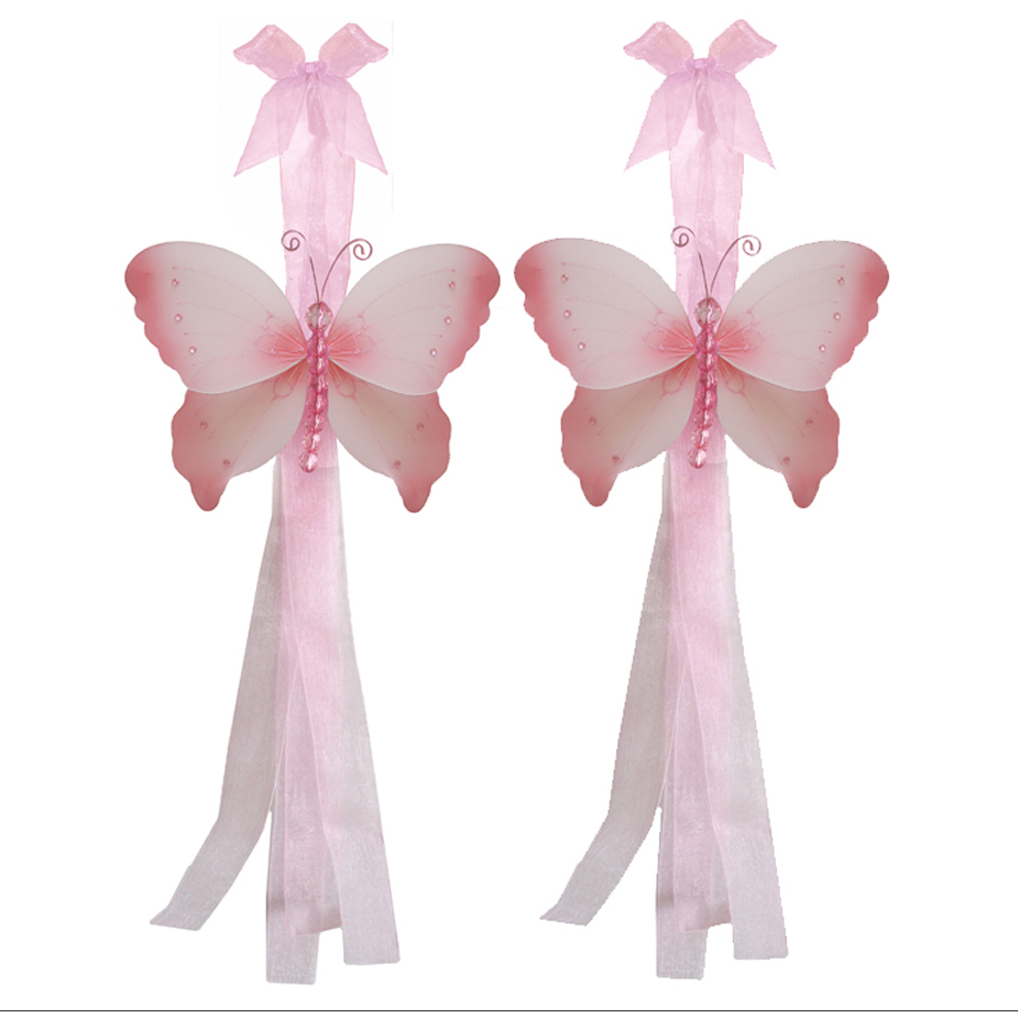 Butterfly tiebacks pink crystal curtain window baby girl for Baby girl butterfly bedroom ideas