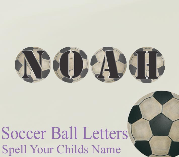 Soccer Ball Name Wall Letter Stickers