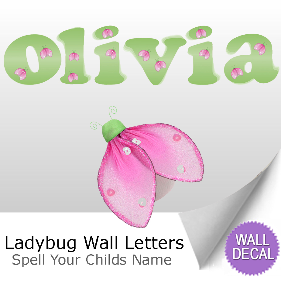 Name Wall Letters Alphabet Stickers Initial Decals Girl Decor